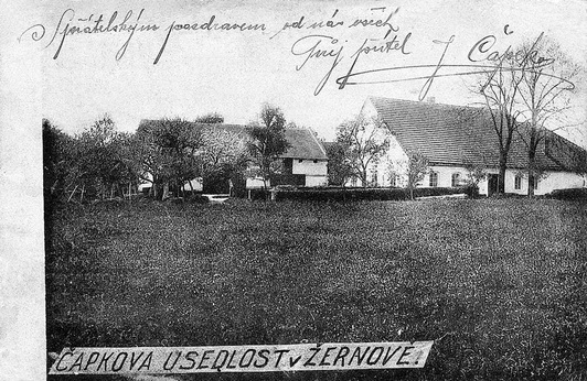 The Čapek family manor from a historical photograph