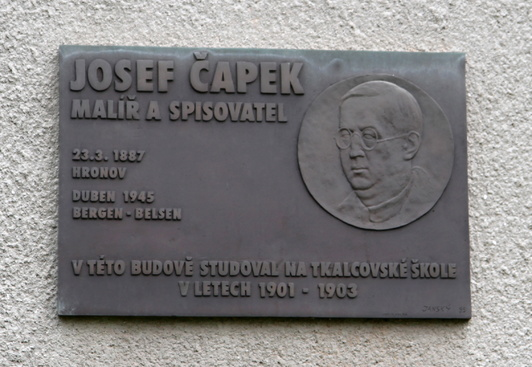 The memorial placue at the school where Josef studied